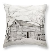The Old Barn Inwinter Throw Pillow
