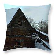 The Old Barn Winter Scene  Throw Pillow