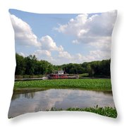 The Old Boat On The Mississippi River Throw Pillow