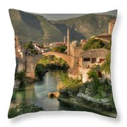 The Old Bridge Of Mostar  Throw Pillow
