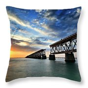 The Old Bridge Sunset - V2 Throw Pillow