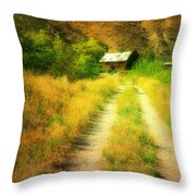 The Old Building Across The Creek Throw Pillow
