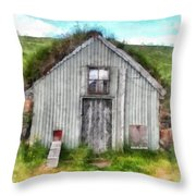 The Old Chicken Coop Iceland Turf Barn Throw Pillow