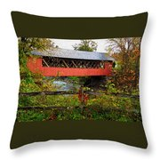 The Old Creamery Covered Bridge Throw Pillow
