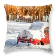 The Old Farm Truck In The Snow Throw Pillow