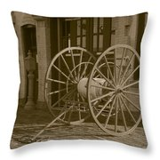 The Old Fire House Sepia Throw Pillow
