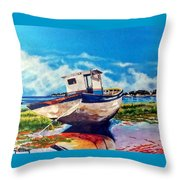 The Old Fishing Boat Throw Pillow