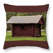 The Old Log Hut Throw Pillow