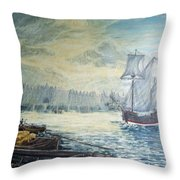 The Old London Bridge Throw Pillow