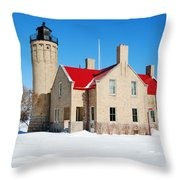 The Old Mackinac Point Lighthouse Throw Pillow