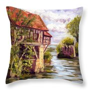 The Old Mill Of Vernon Throw Pillow