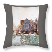 The Old Mills At Meaux Throw Pillow
