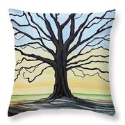 The Stained Old Oak Tree Throw Pillow