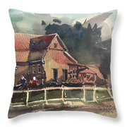 The Old Old House Throw Pillow