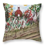 The Old Red Church Throw Pillow