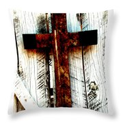 The Old Rusted Cross Throw Pillow