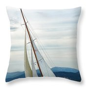 The Old Sailing Yacht At Competitions In The Gulf Of Saint Trope Throw Pillow