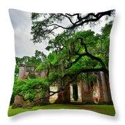 The Old Sheldon Church Ruins Throw Pillow