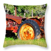 The Old Tractor In The Field Throw Pillow