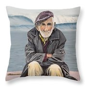 The Old Waterman Throw Pillow by Kevin Daly