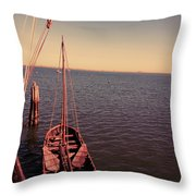 The Old Wooden Boat Throw Pillow