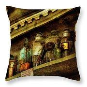 The Olde Apothecary Shop Throw Pillow