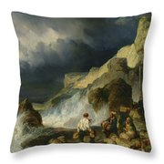 The Onslaught Of The Smugglers Throw Pillow by Louis Eugene Gabriel Isabey