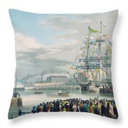 The Opening Of Saint Katharine Docks Throw Pillow