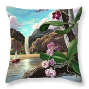 The Orchids And The Sailboat Throw Pillow