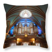 The Organ Inside The Notre Dame In Montreal Throw Pillow