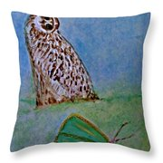 The Owl And The Butterfly Throw Pillow