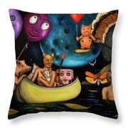 The Owl And The Pussycat In The Beginning Throw Pillow by Leah Saulnier The Painting Maniac