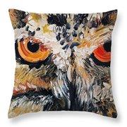 The Owl Of Lakshmi Textured Painting_0476 Throw Pillow
