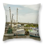 The Paddler Tybee Island Shrimp Boats Throw Pillow