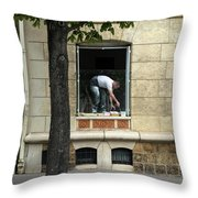 The Painter In The Window Throw Pillow