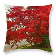 The Painted Leaves Throw Pillow