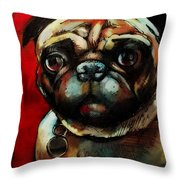 The Painted Pug Throw Pillow