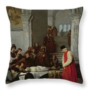 The Painter Luca Signorelli Standing By The Body Of His Rival's Dead Son Throw Pillow