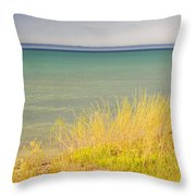weather ,storm,weather ,clouds ,cloudy ,blue ,skies ,water, marine,beach, marine, cottage, Michigan, Throw Pillow