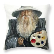 The Painting Wizard Throw Pillow