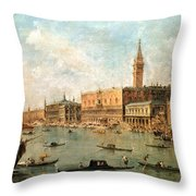 The Palace And The Molo From The Basin Of San Marco Throw Pillow