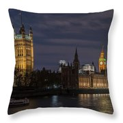 The Palace Of Westminster By Night Throw Pillow