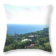 the panorama of the ancient castle on a rock, the symbol of the Republic of Crimea on the background Throw Pillow