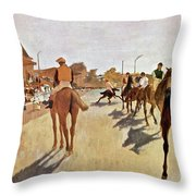 The Parade, Digitally Enhanced Highest Resolution,race Horses In Front Of The Tribune, Edgar Degas Throw Pillow