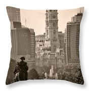 The Parkway In Sepia Throw Pillow by Bill Cannon