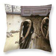 The Parquet Planers Throw Pillow by Gustave Caillebotte