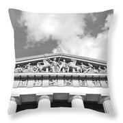 The Parthenon In Nashville Tennessee Black And White 2 Throw Pillow