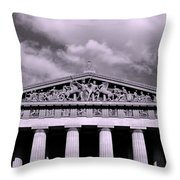The Parthenon In Nashville Tennessee Black And White Throw Pillow