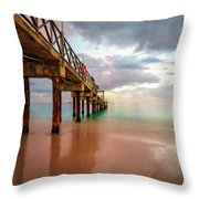 The Pastel Sky And The Jetty Throw Pillow