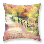 The Path In Autumn Throw Pillow